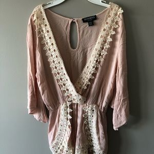 Pink lace romper